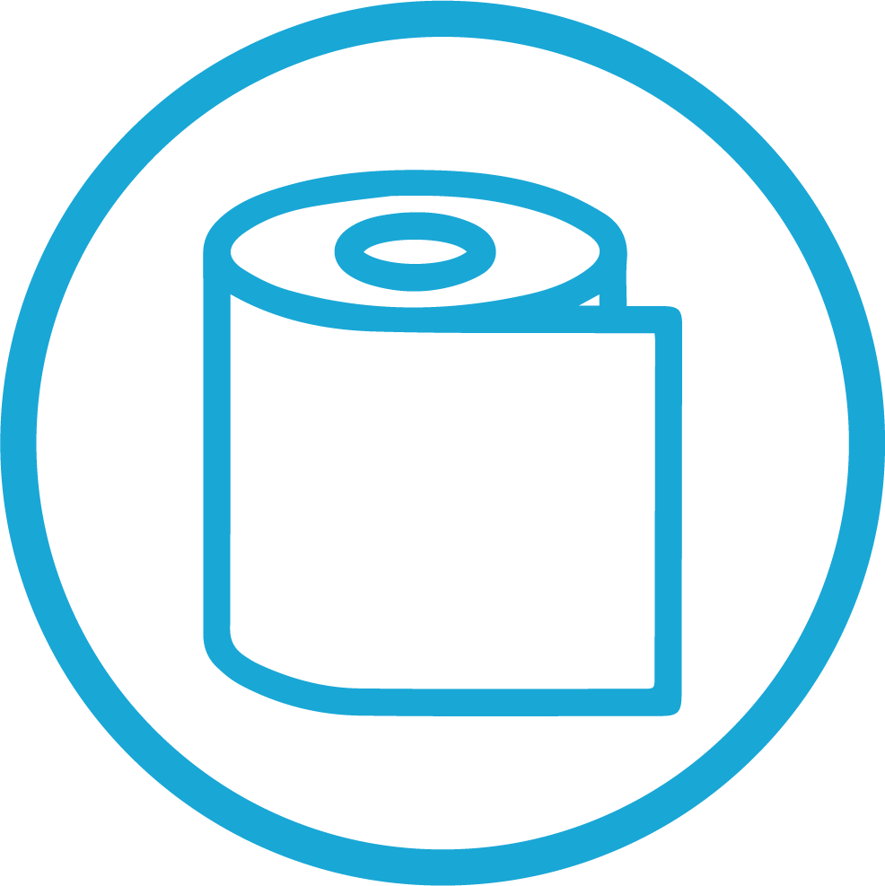 Paper towel for cleaning icon
